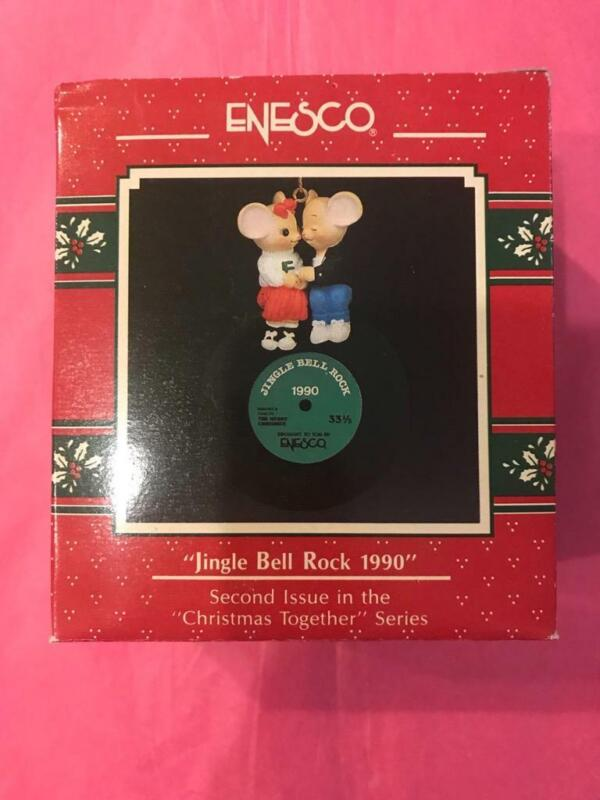Enesco Ornament 1990 Jingle Bell Rock 1990 2nd Christmas Together LP Record Mice