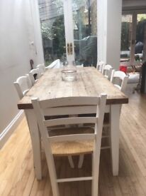 Kitchen table and 10 chairs. Bought from Old Cinema. Wooden. Very good quality and in good knick!