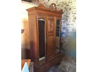 Edwardian solid mahogany 3 door wardrobe with glass