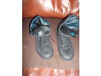 Adidas Hi Top Canvas Turn Top Ankle Boots Size 8 VGC