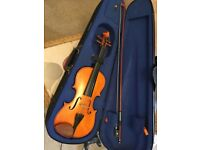 Half size violin, case and bow