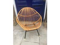 Vintage Mid Century Bamboo Wicker Rattan Chair 60s 70s Metal Boho Rohe Style