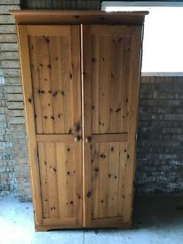 Double pine wardrobe (inc shelves)