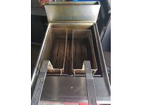 double deep fat fryer gas complete with stand