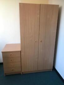 Double Door Wardrobe (flat packed) & Bedside Draw Unit