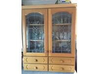 Glass/oak fronted display or storage cabinet