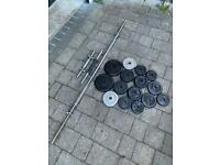 Solid spinlock barbell, dumbbells with spinlocks and 32kg cast iron weight set