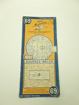 Card Michelin #69 Bourges-Macon 1948/Collector Bibendum Antique and Vintage