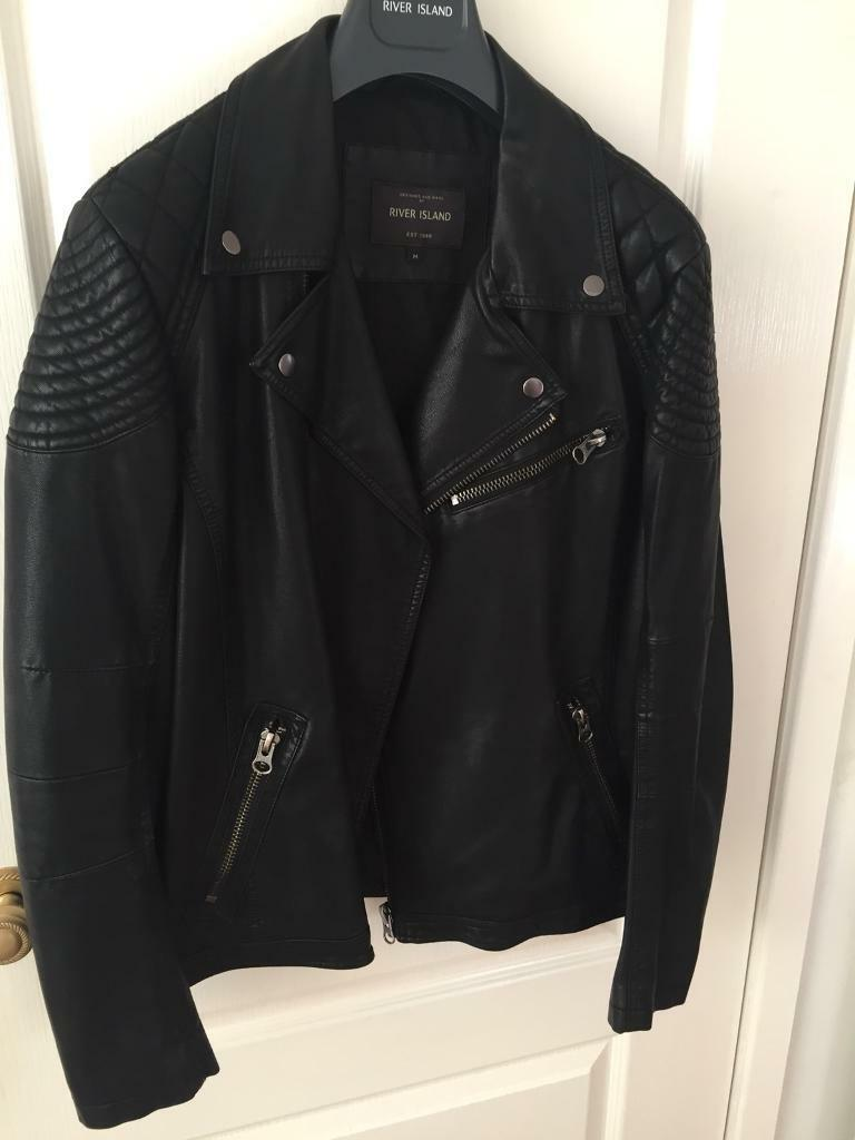River island men's leather jacket M