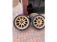"""Rose gold and silver Porsche 911 964 993 18"""" set of wheels and brand new tyres"""