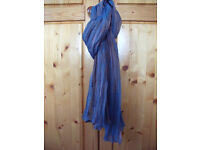 Fantastic colour change iridescent shimmering terracotta/mid blue long pleated scarf by ScarfShop.