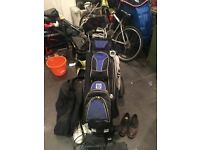 Golf Clubs, Electric trolley ( two batteries included) and Golf Brolly
