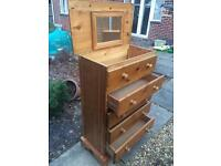 Solid pine chest of drawers with top storage and mirror