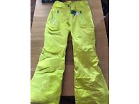 Ladies Small Yellow Wed'ze Salopettes/Snowboard Trousers