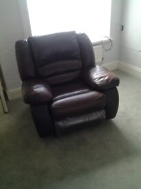 LARGE COSY RECLINER LEATHER CHAIR. BASE RECLINER STILL HAS COVERING