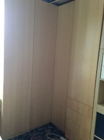 IKEA Pax Beech Wardrobe corner wardrobe and two single wardrobe