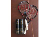 2 Wilson tennis rackets and balls