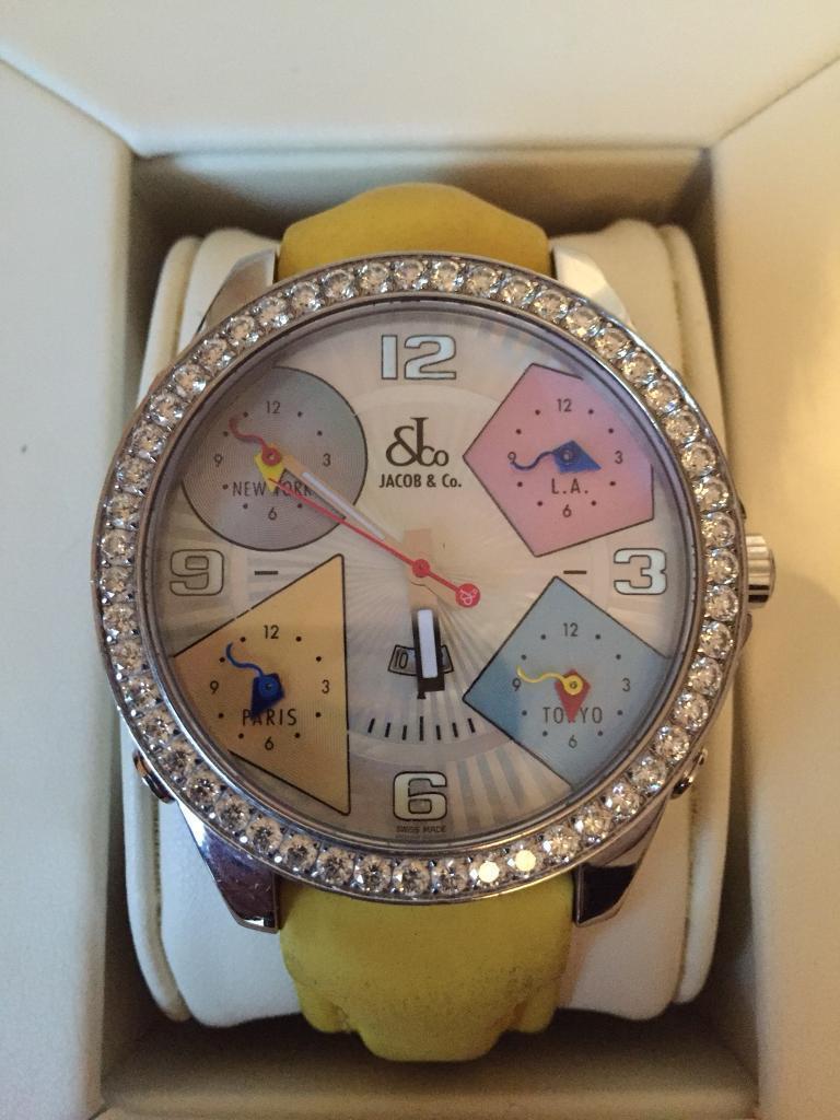 Men's Jacob & Co watch five Time Zones diamond bezel