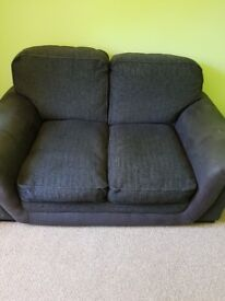 2 seater grey sofa with suede arms