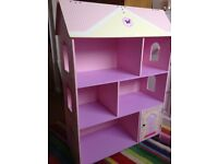 Kidcraft Dolls House Bookcase, flip top roof, pink, purple, girls bedroom toy, book storage