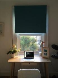 A pair of teal blackout roller blinds