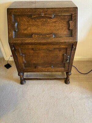 Antique Vintage writing desk Bureau oak