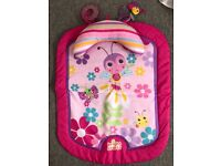 Pink baby bouncer and play mat