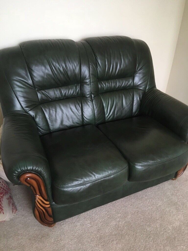 Green leather 3 piece sofa&2 piece sofa 18 months old only | in Kingswood,  Bristol | Gumtree