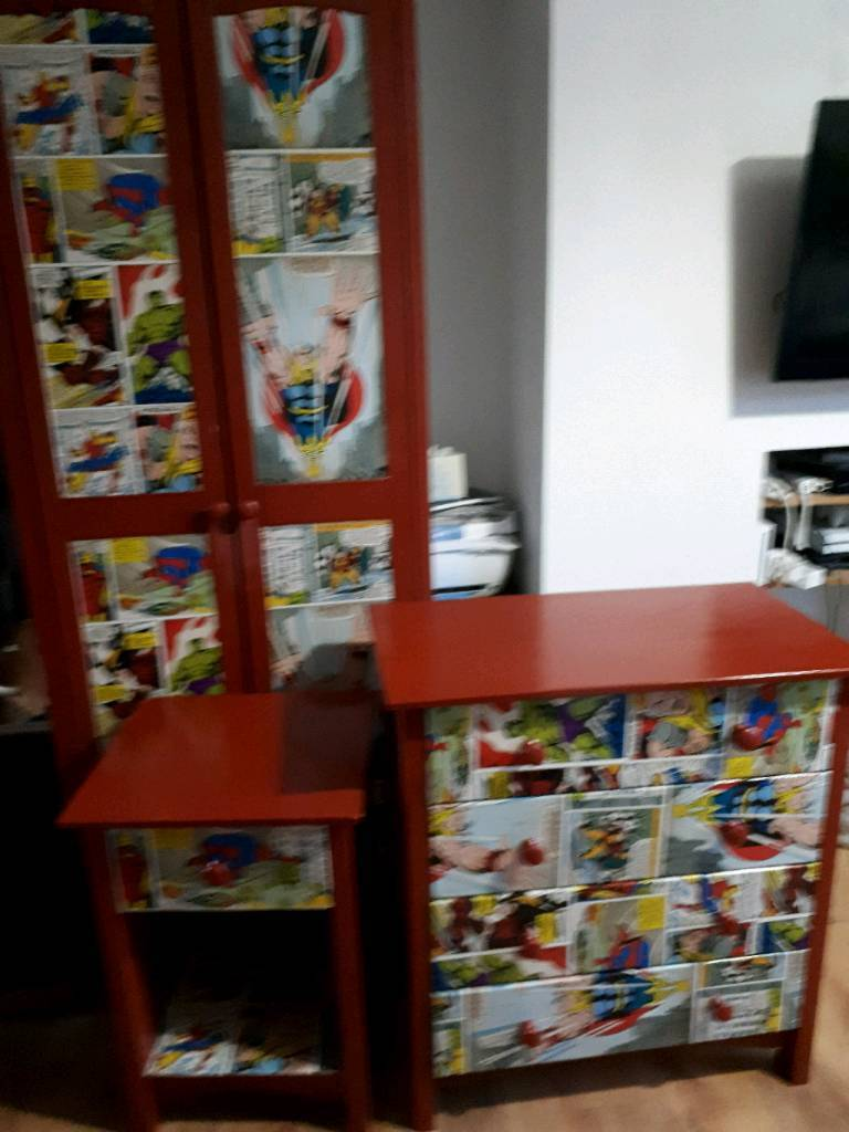 Marvel kids bedroom furniture. Wardrobe, chest of draws and bedside ...
