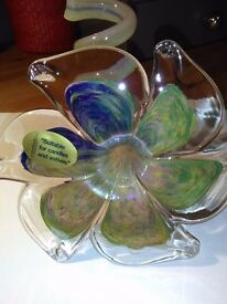 JOHN LEWIS, NEW HAND MADE, ART GLASS CANDLE HOLDER, IN TWO TONES