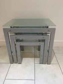 Nest of Tables, Clear Glass, Three Piece Set