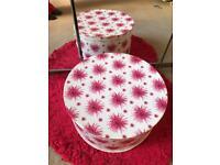 Set of 3 large HAT Boxes pink flower pattern