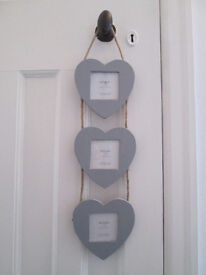 Grey Hanging Wooden Loveheart Picture Frames with Rope Design
