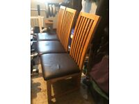 6 solid wood dining chairs in used condition, collection only, chacewater