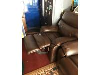 Genuine leather 3seater sofa,chair and storage box