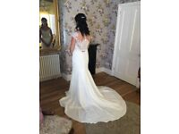 Ellis Bridal Wedding Dress with Diamanté Belt. Size 10