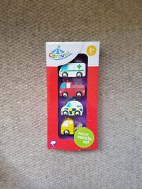 Brand new! Wooden rescue vehicles baby toddler toy