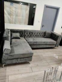 💖🔴Super Sale🔵💖🔴Florence sofa-plush velvet left/right hand corner sofa-in grey color⭐️