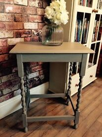 ANNIE SLOAN SHABBY CHIC FRENCH LINEN VINTAGE BARLEY TWIST SIDE TABLE