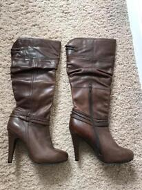 Brown Leather Boots - size 6