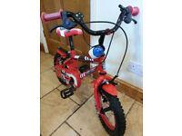 Red Apollo Fireman's Kids Bike 12inch wheels