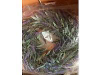 Artificial lavender door wreath