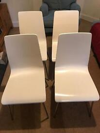 Dining chairs, set of 4 by John Lewis, white wooden, metal legs