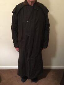 Full length men's waxed riding coat