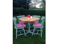 solid pine round dining table and four chairs shabby chic annie sloan