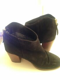 Black Suede Ankle Boots - Size UK 5