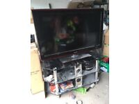 Samsung 46 inch tv plus dvd speakers and stand