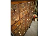 antique oak library index filing office drawers