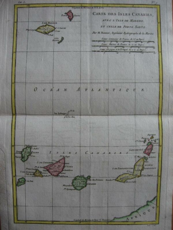 1780 - BONNE - Map  CANARY Is. Canarias  MADEIRA  Spain Portugal