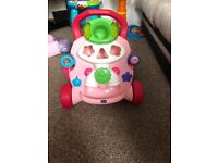 Chicco push along pink baby walker